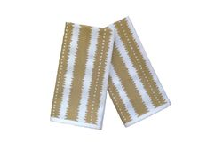 Christmas beetle gold on off-white linen napkins