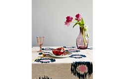 Navy and Pink Ikat Spot Linen Tablecloth