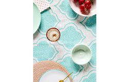 Aqua Lanterns Linen Tablecloth