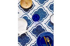 Blue Lanterns Linen Tablecloth
